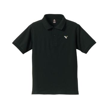 Vロゴ刺繍ポロシャツ(ブラック)