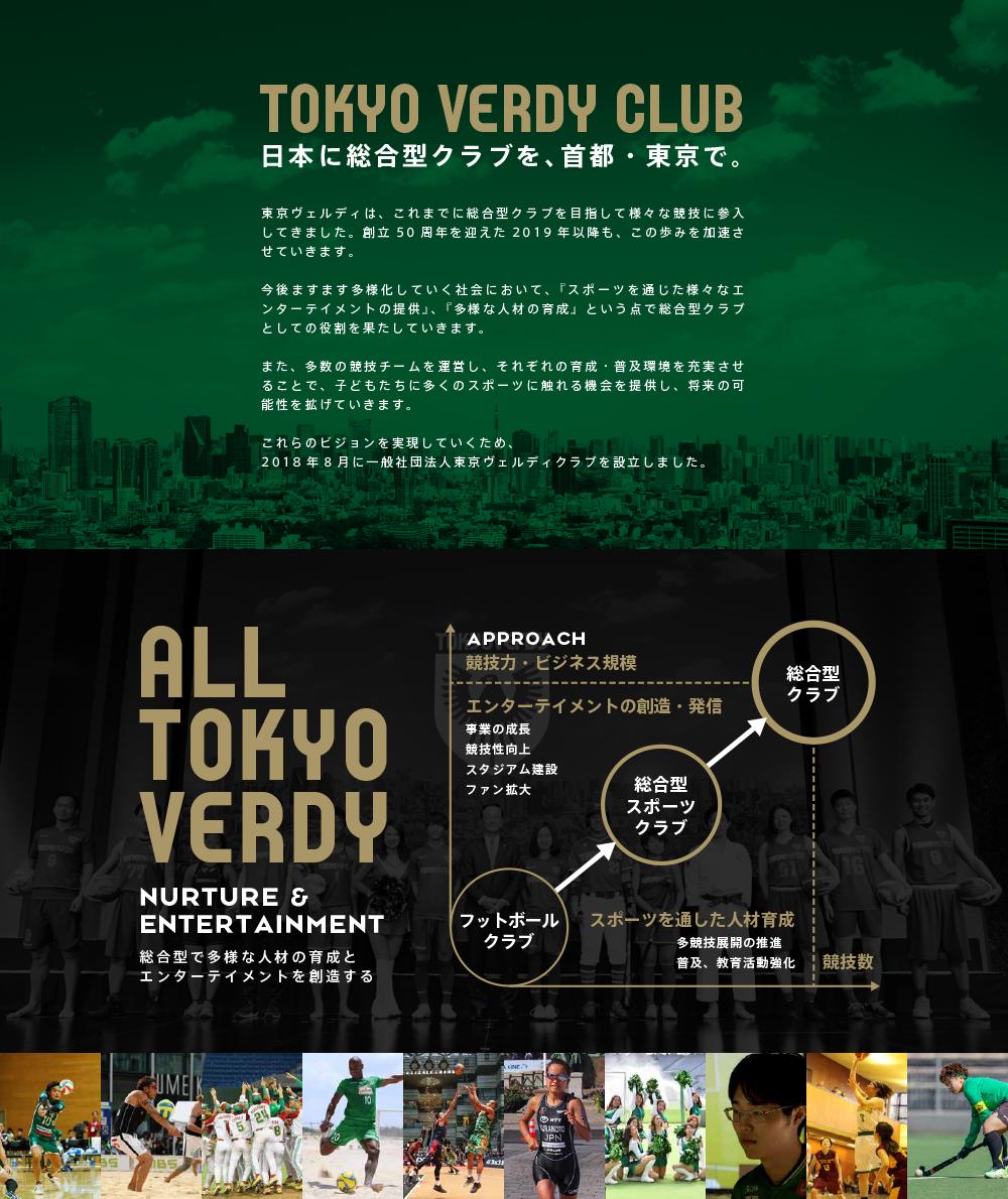 東京ヴェルディは、これまでに総合型スポーツクラブを目指して様々な競技に参入してきました。創立50周年を迎えた2019年以降も、さらにこの歩みを加速させていきます。今後ますます多様化していく社会において、「スポーツを通じた様々なエンターテイメントの提供」、「多様な人材の育成」という点で総合型クラブとしての役割を果たしていきます。また、多数の競技チームを運営し、それぞれの育成・普及環境を充実させることで、子どもたちに多くのスポーツに触れることのできる機会を提供し、将来の可能性を広げていきます。これらのビジョンを実現していくため、2018年8月に一般社団法人東京ヴェルディクラブを設立しました